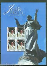 TUVALU POPE JOHN PAUL II 10th MEMORIAL IMPERFORATE SHEET I OF FOUR MINT NH