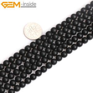 Black Obsidian Jasper Natural Stone Precious Forested Matt Round Beads Making