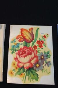 "27 PIECE SET OF VINTAGE  FLORAL 1930'S-1940'S DECALS  6 3/8"" X 8 1/4"""