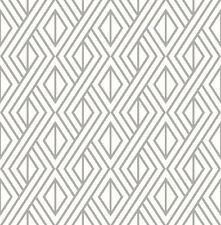 Wallpaper Retro Modern Geometric Metallic Silver Ink on White Background