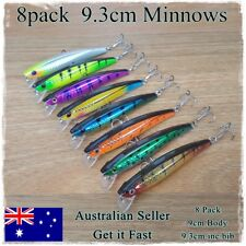 8 Minnow Fishing Lures Trout Redfin Yellowbelly Bream Salmon Flathead Jacks