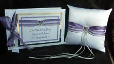 Guest Book and Ring Cushion in Purple Lavender & Silver