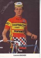 CYCLISME carte cycliste LAURENT BIONDI équipe HITACHI 1985 signée