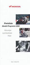 Honda Preisliste 2002 1.10.01 FireBlade CRF 450 FES Varadero VFR VTX X-11 F6C