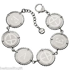 NEW EMPORIO ARMANI SILVER LADIES COIN BRACELET WITH LOGO DISCS-EGS1401