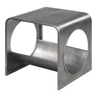 Modern Aviation Industrial Silver End Table | Airplane Silver Shelf Contemporary