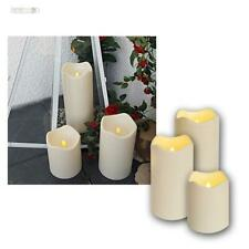 3er Set LED Candle Feet Outdoor Flameless Flickering Electric
