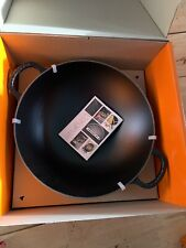 Le Creuset Cast Iron Wok with Glass Lid, 32 cm - Matt Black (BNIB)