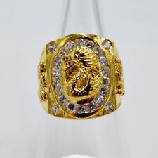 MEN RING WHITE SAPPHIRE 24K YELLOW GOLD FILLED GP ELVIS SQUARE BIKER DRAGON SZ 8