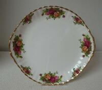 """OLD COUNTRY ROSES Royal Albert 10.5"""" HANDLED CAKE PLATE Sandwich China England"""