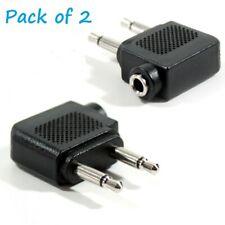 2 x 3.5mm Aeroplane Airline Aircraft Headphone Earphone Socket Jack Plug Adaptor