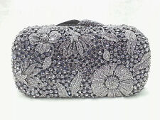 Grey Pewter Floral Pattern Handmade Austrian Crystal Evening Cocktail Bag