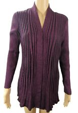 NWT NY Collection Petite Wrap Sweater Womens Sz M Purple Open Front Long Sleeves
