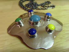 VINTAGE OLD STOCK TURKISH OTTOMAN ANATOLIAN SILVER AND MULTI COLOR NECKLACE, J