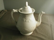 "VINTAGE IRONSTONE CHINA MEAKIN TEA POT W/ LID - WHITE ON WHITE - 9 3/4"" H - vh"