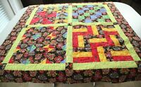 Handmade Finished Quilt 49x50 Square Patchwork Colorful Paisley Pinwheel Log Cab