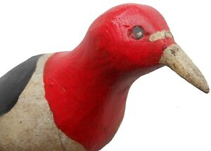 AAFA 1900s Folk Art Country Primitive Wood Hand Carved Bird Woodpecker