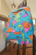 Vintage 80's 90s NEON Eastpak Backpack/Hiking/Trail wolrld map RARE Pack RETRO