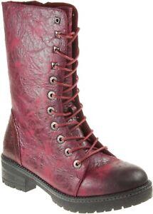 Heavenly Feet Arabella Wine Rose Mid Calf Boots Women's