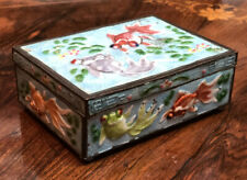 More details for 1930's enamel cigarette box decorated with koi carp