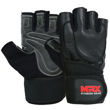 Weight Lifting Gloves Fitness Gym Glove Genuine Leather Long Strap Black, XL