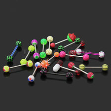 16pcs Fashion Stainless Steel Tongue Barbell Bar Ball Body Piercing Jewelry Gift
