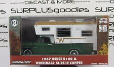 GREENLIGHT 1:64 Hobby Only 1967 DODGE D100 D-100 w/WINNEBAGO Slide-In Camper