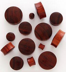 "1 Pair (2) 5/8"" 16mm Red Tigerwood Organic Solid Wood Saddle Plugs Ear Gauge 815"