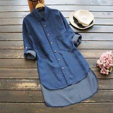 Womens Denim Pockets Button Down Shirt Long Sleeve Jeans Tops Tunic Blouse Dress