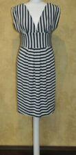 Joules Tom Joule Odette Cream & Teal Blue Striped Summer Dress Stretchy UK 12