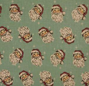 Vintage Santa- Blue Christmas Craft Bunting Patchwork Polycotton Fabric