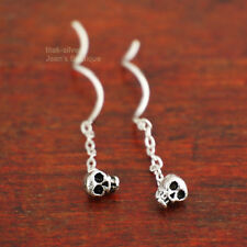 925 Sterling Silver Skull Skeleton Biker Thread Line Threader Earrings A1183