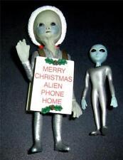 "2 1998 SHADOWBOX Neonate ALIEN CHRISTMAS FIGURE 3 3/4"" & 2.5"" Grey alien htf"