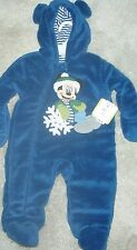 DISNEY BABY, BOY'S MICKEY MOUSE ONE-PIECE SNOWSUIT, BLUE, SZ 6M NEW RET $34.00