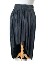 LOVE Womens Skirt Textured Asymmetric Hem Stretch Midi Black Size S/M UK 10-12