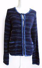 NWT CHICOS Navy Blue Metallic Tweed Premium Cotton Blend Blazer Jacket Sz 3 XL
