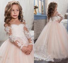 Princess Vintage Lace Applique Flower Girl Dress Pageant Ball Gowns Party Dress