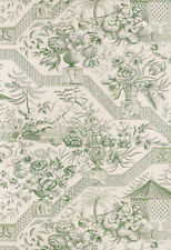 Schumacher Williamsburg Wallpaper  Asian Toile in Jade Green Dbl Roll $580 Value