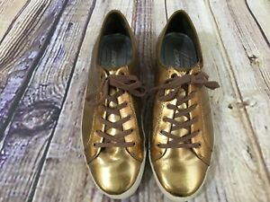 DKNY Mauri Old Gold Leather Sneaker Shoes Metallic Lace-up Womens's Size 8