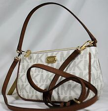 NWT Michael Kors  Jet Set Crossbody Pouchette Vanilla Signature  Convertible Bag