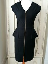 REISS dress Size 10 Black Pencil Fitted Zip Office Work Party