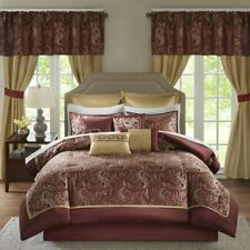 Queen Cal King Bed Bag Burgundy Gold Paisley Scroll 24 pc Comforter Window Set