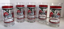 """5 Vintage Coca Cola Christmas Glasses Whataburger Poinsettias Stained Glass 6"""""""