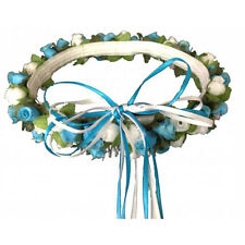 Turquoise & white Silk Poly Rose Halo Flower Girl Head Piece Band Green Leaves