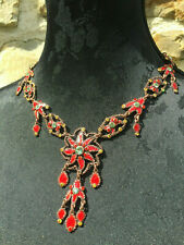 TARATATA FRANCE COLLIER - émail & strass - Red NECKLACE SIGNED French Creator