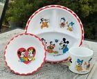 Vtg+Melamine+1984+Walt+Disney+child+divided+plate+bowl+%26+cup+set+Baby+Characters
