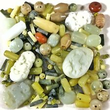 1150+ Carats Of Jade & Stones - Hand-Carved Beads & Pendants - Old Asian Artwork