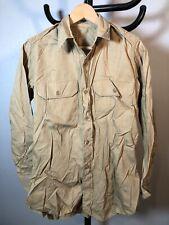 Vintage WWII KOREA Uniform Military Khaki Poplin Shirt Army Marine USGI SS19