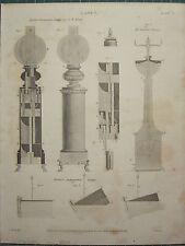 1817 daté impression antique ~ lampes hydro-pneumatic R. roi BARTONS porter