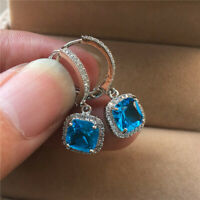 Luxury Princess Cut Aquamarine Dangle Earrings 925 Silver Women Wedding Jewelry